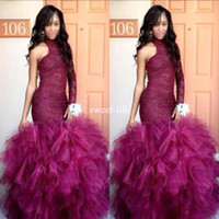 Wholesale Long Blue Puffy Prom Dresses - New Lace Vintage Puffy Tulle 2017 Mermaid Tulle Prom Dresses One Shoulder Formal Party Gown Robe De Soiree Long Sleeves Evening Dresses