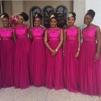 vestido de tule de fuschia venda por atacado-Nigeriano Lantejoulas Vestidos de Dama de Honra Fuschia Tulle Longo Prom Da Festa de Casamento Convidado Vestidos de 2019 Africano Custom Made Vestidos de Noite Bateau Pescoço