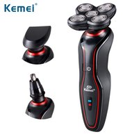Wholesale Electric Razor Blades - KEMEI Washable 5 Heads Rechargeable Electric Shaver Triple Blade Electric Shaving Razors Face Care 5D Floating for Men BT-062