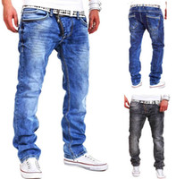 Wholesale Mens Personality Jeans - 2016 NEW Mens Casual Jeans Distressed Loose Hiphop Straight Denim Pants Personality Oblique Zipper Decoration Urban Jeans