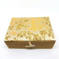 Wholesale Silk Fill - Rectangle Cotton Filled Bead Necklace Bracelet Gift Box Jewelry Storage Box Chinese Silk brocade Decorative Packaging Business Favor Boxes