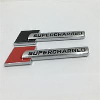 Wholesale Audi Metal Stickers - 1Pcs Metal 3D SUPERCHARGED Emblem Badge Side Logo Car Stickers Decal For VW MK6 GOLF AUDI