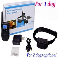 Wholesale Dog Training Waterproof Rechargeable - 10set lot* (For 1 dog) 300M Rechargeable and Waterproof Remote 100LV Shock Pet Dog Training Bark Stop Collar with LCD Display
