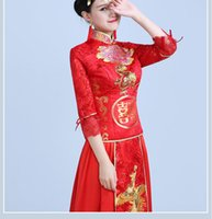 Wholesale Toast Suits - free shipping by DHL or FEDEX The new 2016 red cheongsam happy character embroidery XiuHe suit Tang suit A toast to the bride clothing