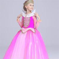 Wholesale Wholesale Beauty Pageant Dresses - Girls Frozen Princess Dress Costume Wedding Dresses Evening Wear Kids Sleeping Beauty Cosplay Girl Gauze Party Pageant dresses 2016 new