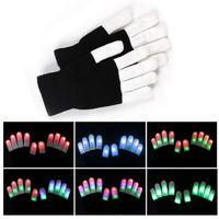 schwarze rave handschuhe großhandel-LED-Handschuhe Flash Five Fingers Light Ghost Dance Black Bar Bühnenauftritt farbenfrohes Rave Light Finger-Beleuchtungshandschuhe Glow Flashing