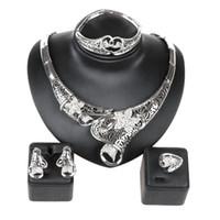 Wholesale Golden Bracelet Set - Fashion Brand African Jewelry Set New Design 18K Gold Plated Necklace Bracelet Earrings Ring Jewellery Sets