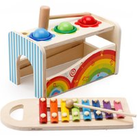 Wholesale Wholesale Wooden Toy Boxes - Original Muwanzi Children's Educational Toys Multifunction Music Table Color Coginitive Puzzle Wooden Building Blocks Retail Box 2107355