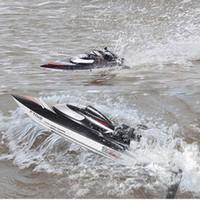 barcos de carrera de control remoto al por mayor-Venta al por mayor-FeiLun FT012 de alta velocidad RC Racing Boat sin escobillas Autorretrato rápido RC Boat 45 km / h VS FT011 FT010 FT009 Modo de barco de control remoto
