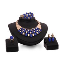 Wholesale Gold Blue Gem Earring - Blue Gem Jewelry Set Necklace Earring Ring Bracelet Jewelry Set Bride Wedding Jewelry From China Free Shippping