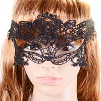 Wholesale Halloween Sexy Costume For Ladies - Sexy Lady Black Lace Mask Cutout Eye Mask for Masquerade Halloween Party Fancy Dress Costume 2016 New Girls Women Hot sales