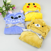 Wholesale Hooded Baby Bath Towels Wholesale - Baby Kids Hooded Bath Towel cape Soft Velvet Cute Animal Shape Cartoon Toddler Boy Girls Bathrobe free shipping HY1259