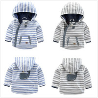 Wholesale Dust Coat Baby - New Spring Autumn Girl Boy Stripe Zip Jackets With Hooded Baby Toddler Cotton Dust Wind Coat Outwear Children Kid Asymmetric Design Clothing