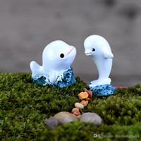 Wholesale Dolphin Ornament - 2Pcs Mini White Dolphin Shape Fish Tank Ornaments Figurines Mini Landscape Fairy Garden Doll Landscape Decoration