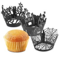 Wholesale Laser Cut Cup Cake Case - Baking Cups Liners Laser Cut Paper Cake Cupcake Wrappers Bakeware Wraps Cases Party Wedding Decor 12Pcs