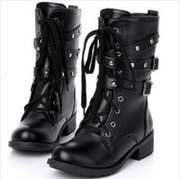 Wholesale Wholesale Fashion Plus Size Shoes - Wholesale- Plus size 42 Genuine Leather martin boots 2016 new autumn winter boots fashion rivets Lace up flat shoes for zapatos mujer k627