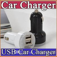 Wholesale Nipple Adapter - 100X Colorful Mini Car Charger 2 ports Cigarette Port 2.1A Micro auto power Adapter Nipple Dual USB for Phone 6s 7 plus samsung s7 M-SC