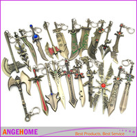 Wholesale Aurora Models - 17 Styles, League Of Legends Game Weapon lol Keychain Aurora Leona Sword Keychain Weapon Model Keychain Fashion Jewelry