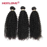 brezilya kıvırcık saç paketleri toptan satış-Brezilyalı Bakire Işlenmemiş Insan Saçı kinky Kıvırcık Karışık Uzunluğu 3 Demetleri / 4 Demetleri / Lot Doğal Siyah Brazillian Sapıkça Kıvırmak Saç Atkı