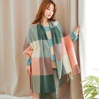 Wholesale Korean Style Scarves - Autumn and winter women new style Korean style Imitation Cashmere Plaid warm Poncho scarves fashion and beautiful