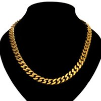 Wholesale Heavy Twist Chain - Luxury Curb Chain Necklace Yellow Gold Rose Gold Plated Heavy 10mm Bling Solid Chunky Cuban Rapper Gangsta Pimp Jewellery 100 G