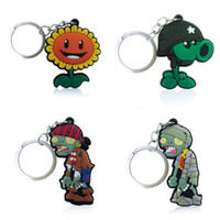 Wholesale Plants Vs Zombies Party - Plants vs Zombies High Quality Bright Color Cartoon PVC Keychain Key Ring Bag Fashion Accessories Packed in Gift Bag Kawaii Party Favors