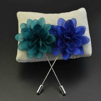 Wholesale Pin Sun - Price Cheap Sun Flower ball Brooch Lapel Pins handmade Boutonniere Stick with Artificial Silk Flower for Gentleman suit wear Men Accessories