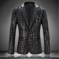 Оптово-2017 Бренд Plaid Men Blazer Jacket Slim Fit Casual Faux Leather Spliced ​​Velvet Костюм Мода Pieces Дизайн Mens Blazer Black 4XL