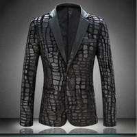 Wholesale Mens Faux Leather Blazer - Wholesale- 2017 Brand Plaid Men Blazer Jacket Slim Fit Casual Faux Leather Spliced Velvet Suit Fashion Pieces Design Mens Blazer Black 4XL