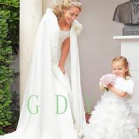 Wholesale Linen Lace Wedding Dresses - NEW Winter Bridal Cape Faux Fur Christmas Cloaks Jackets Hooded For Winter Wedding Bridal Wraps For Wedding Dresses Sweep Train