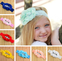 Wholesale Shabby Flowers Purples - Shabby Flowers Baby Headbands Chiffon Fabric Flower Pearls Rhinestones Button 12 Colors Children Hair Accessories 12PCS Free Shipping DH728