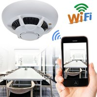 Wholesale Ip Video Recording - HD 1080p WiFi Spy IP Camera Hidden Smoke Detector Motion Detection Nanny Cam DVR With Motion Activated Video and Audio Recording