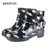 Wholesale Leopard Chunky Heels - Koovan Women Fashion Rain Boots Leopard Buckle Ankle Boot New 2017 Hot Sell Chunky Heel Shoe W405
