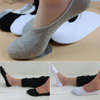 ingrosso calzini pantofole invisibili-Nuovi arrivi di trasporto Pantofole degli uomini Calzini Sox Miscela di cotone Morbido Casual Invisibile No Show 3 Colori Nero Bianco Grigio