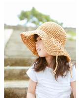 Wholesale Straw Hat Children Wide Brim - Lovely Baby girls Sun Hat Cute woven sun hat for mother and Daughter Grass woven sun hat for girls
