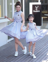 Wholesale Cherry Family - Retail Family Outfits Mother And Daughter Dress Cherry Embroidery Blue White Stripe Dresses Kids Parent Family E1615