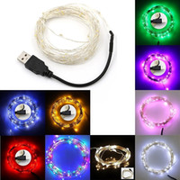 Wholesale Usb Wiring Colors - 5M 10M Multi-Colors USB 5V Sliver Wire Christmas 50 100 LED String Fairy Lights