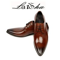 Wholesale Lace Heels For Wedding - Man point toe dress shoe Italian designer formal mens dress shoes genuine leather black luxury wedding shoes men flats office for male