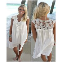 Wholesale Solid Coverups - Plus Size Beach Cover up Women Summer Hollow Out Lace Bikini Coverups Swim Bathing Suit Cover-ups Loose Chiffon Beach Dress 3XL 2018