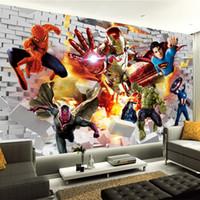 kids wallpaper murals 도매-복수 자 벽지 3D 사진 벽지 헐크 아이언 맨 수퍼맨 사용자 정의 벽 벽화 소년 아이 침실 벽돌 벽에 TV 배경 장식