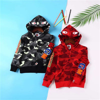 Wholesale American Style Hats For Children - Children Early Autumn Unlined Camouflage Joint Shark Coat with Hat for Boys and Girls Kids Zipper Hooded Outwear