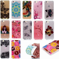 Wholesale Silicone Butterfly Iphone Cases - Bling Glitter Sunflower Silicone Flower Butterfly Skull Soft IMD TPU Case For Iphone 7 I7 Plus 7P 6 6s SE 5 5S Doughnut Dreamcatcher Cover
