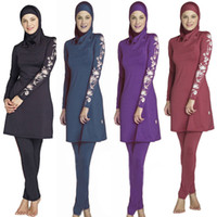 Wholesale modest islamic swimwear - New Women Ladies Print Floral Long Sleeve Muslim Islamic Full Cover Costumes Modest Swimwear Burkini Plus Size S-6XL