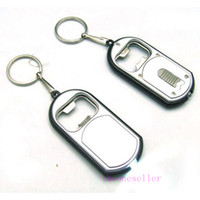 Wholesale Vintage Torch - 2016 Hot New Arrival Creative Vintage 3 in 1 LED Flashlight Torch Keychain With Beer Bottle Opener Key Ring Chain Keyring 500pcs