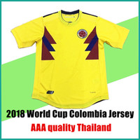 Soccer Men Short 2017 2018 World Cup Colombia soccer jerseys home yellow  uniforms FALCAO JAMES CUADRAD 92253d8de