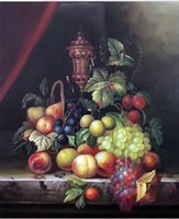Wholesale Painted Basket - Framed Fruit Still Life Grapes Peaches Plum Classic Basket ,Pure Hand Painted Art Oil Painting On Canvas.Multi sizes John