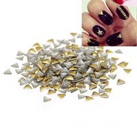 Wholesale Triangle Nail Stickers - 3mm Paste Manicure Silver Gold Triangle Flatback Iron On Nail Tips DIY 3D Nails Art Decoration Metallic Stickers Alloy Decals