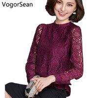 Wholesale Elegant Lace Blouses For Ladies - VogorSean Women New Fashion Elegant Blouses Shirts Loose Long Sleeve Lace Tops Blouse Shirts For Women Office Lady Blusas 2017