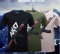 Wholesale Graphic Clothes - 2016 new summer 3D AK47 printing Men t shirts Fashion SWAT Guns Graphic men tees polos men's clothing Plus size S~6XL