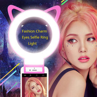 ingrosso fascino smartphone-Cat Eye Charm occhi Clip Selfie Ring Light Moda LED selfie luce flash ricaricabile lampada selife fill-light per Smartphone